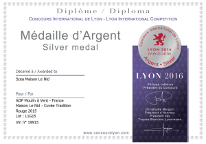 Medaille argent_Concours Lyon 2016_Tradition 2015